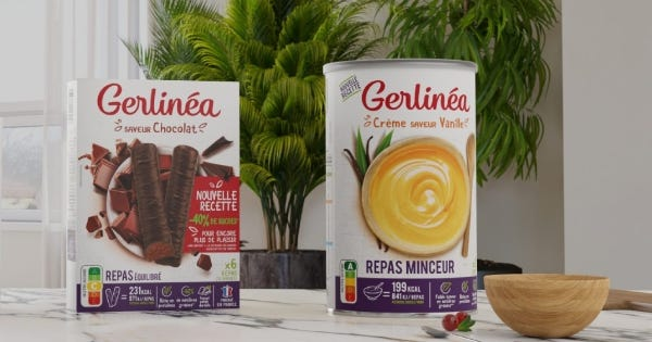 Substituts de repas gerlinea barres chocolat, crème vanille
