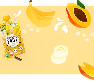 Gourdes Früt Gerlinéa avec mangue, banane et yaourt à la grec