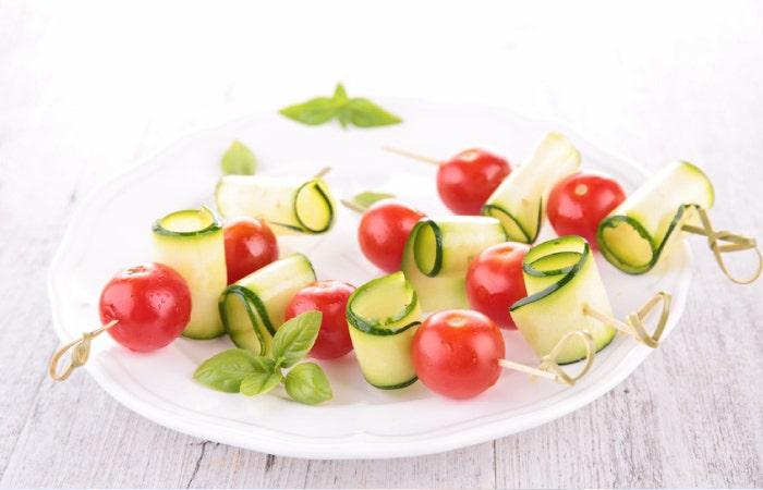 brochettes tomates-cerises et courgettes