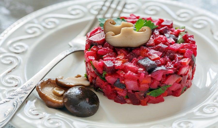 Salade mélangée betterave et champignons